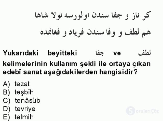 XIV-XV. Yüzyıllar Türk Edebiyatı Bahar Final 2. Soru