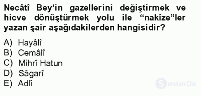 XIV-XV. Yüzyıllar Türk Edebiyatı Bahar Final 3. Soru