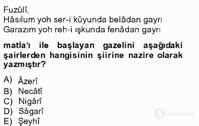 XIV-XV. Yüzyıllar Türk Edebiyatı Bahar Final 4. Soru