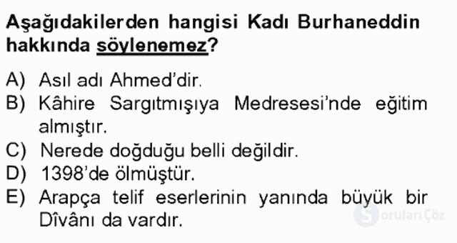 XIV-XV. Yüzyıllar Türk Edebiyatı Bahar Final 5. Soru