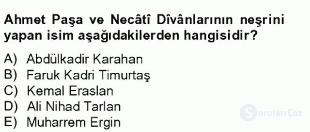 XIV-XV. Yüzyıllar Türk Edebiyatı Bahar Final 6. Soru