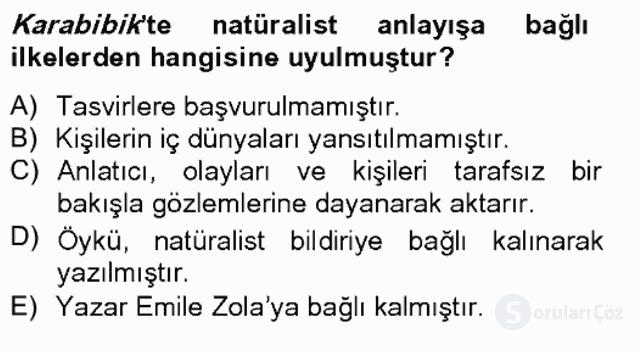 Tanzimat Dönemi Türk Edebiyatı II Bahar Final 10. Soru