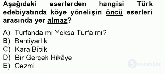 Tanzimat Dönemi Türk Edebiyatı II Bahar Final 1. Soru