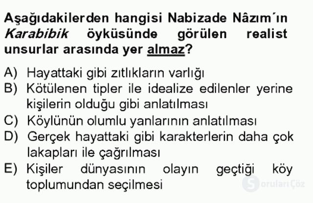 Tanzimat Dönemi Türk Edebiyatı II Bahar Final 12. Soru