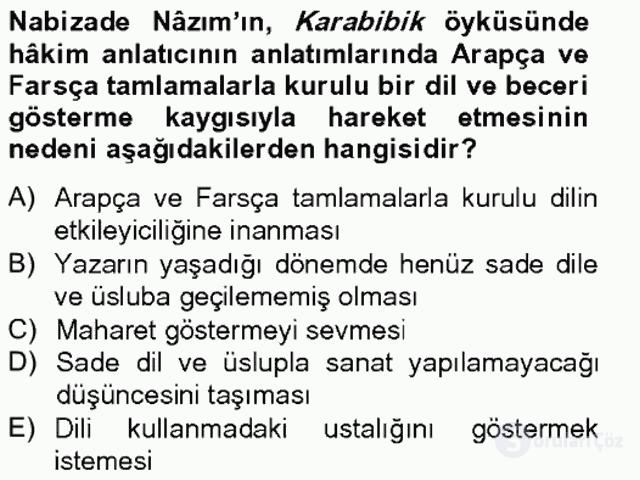 Tanzimat Dönemi Türk Edebiyatı II Bahar Final 13. Soru