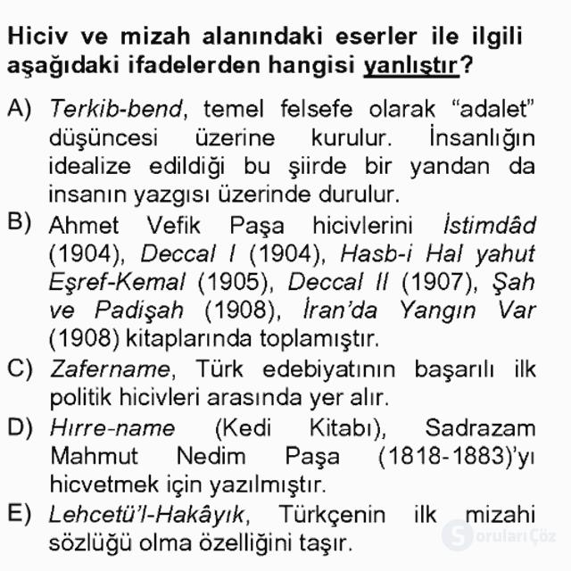 Tanzimat Dönemi Türk Edebiyatı II Bahar Final 14. Soru
