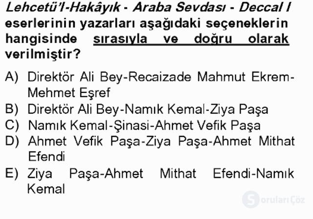 Tanzimat Dönemi Türk Edebiyatı II Bahar Final 15. Soru