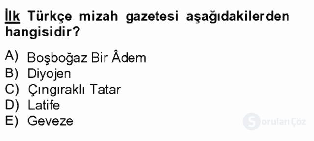 Tanzimat Dönemi Türk Edebiyatı II Bahar Final 16. Soru