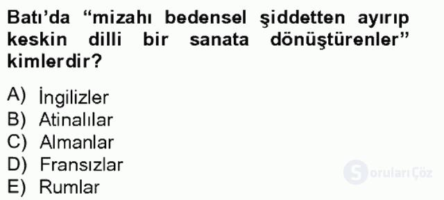 Tanzimat Dönemi Türk Edebiyatı II Bahar Final 17. Soru