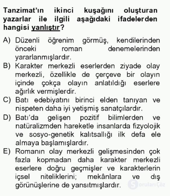 Tanzimat Dönemi Türk Edebiyatı II Bahar Final 2. Soru