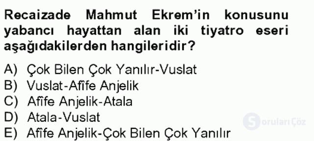 Tanzimat Dönemi Türk Edebiyatı II Bahar Final 5. Soru