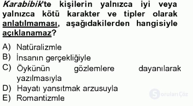 Tanzimat Dönemi Türk Edebiyatı II Bahar Final 7. Soru