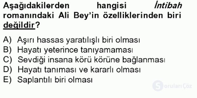 Tanzimat Dönemi Türk Edebiyatı II Bahar Final 8. Soru
