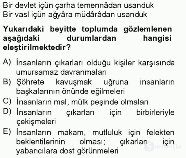 XVII. Yüzyıl Türk Edebiyatı Bahar Final 10. Soru
