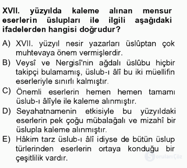 XVII. Yüzyıl Türk Edebiyatı Bahar Final 11. Soru