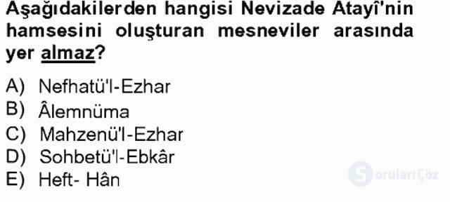 XVII. Yüzyıl Türk Edebiyatı Bahar Final 12. Soru