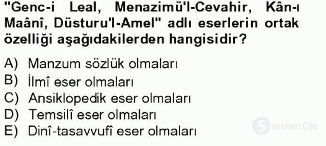 XVII. Yüzyıl Türk Edebiyatı Bahar Final 13. Soru