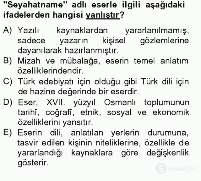 XVII. Yüzyıl Türk Edebiyatı Bahar Final 15. Soru