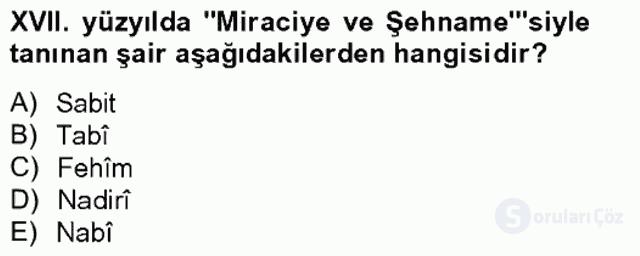 XVII. Yüzyıl Türk Edebiyatı Bahar Final 16. Soru