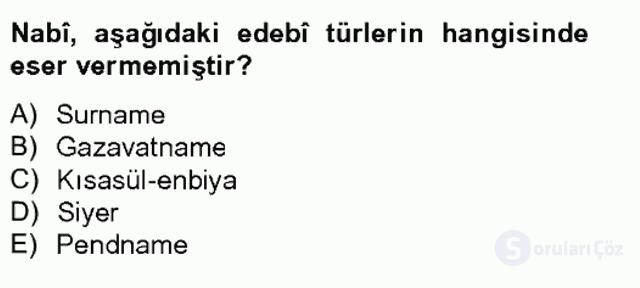 XVII. Yüzyıl Türk Edebiyatı Bahar Final 17. Soru