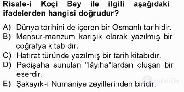 XVII. Yüzyıl Türk Edebiyatı Bahar Final 18. Soru
