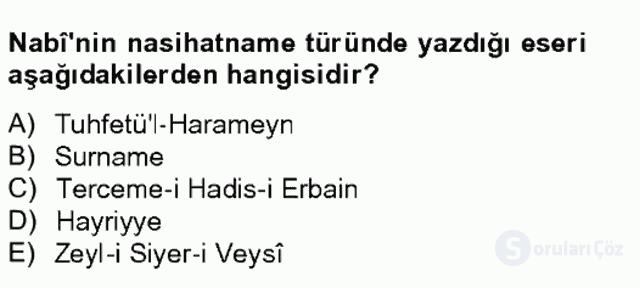 XVII. Yüzyıl Türk Edebiyatı Bahar Final 20. Soru