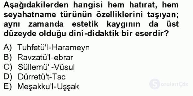 XVII. Yüzyıl Türk Edebiyatı Bahar Final 2. Soru
