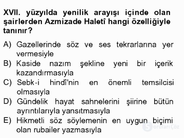 XVII. Yüzyıl Türk Edebiyatı Bahar Final 3. Soru