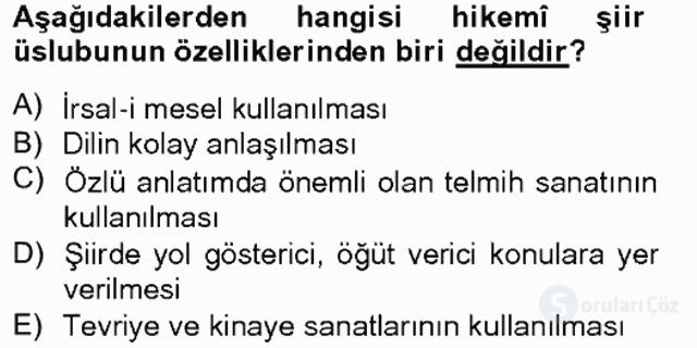 XVII. Yüzyıl Türk Edebiyatı Bahar Final 4. Soru