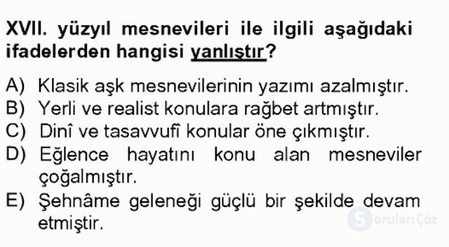 XVII. Yüzyıl Türk Edebiyatı Bahar Final 5. Soru