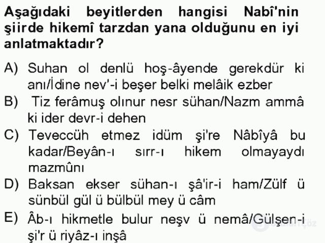 XVII. Yüzyıl Türk Edebiyatı Bahar Final 6. Soru