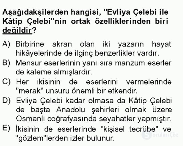 XVII. Yüzyıl Türk Edebiyatı Bahar Final 7. Soru