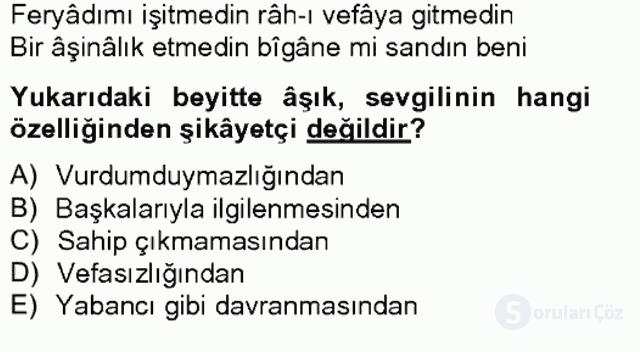 XVII. Yüzyıl Türk Edebiyatı Bahar Final 8. Soru