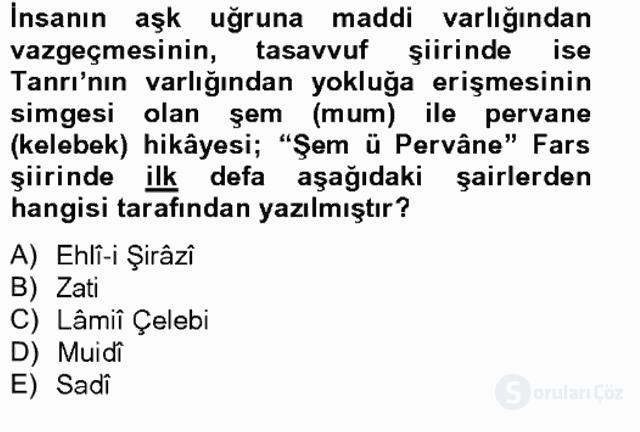 Türk Edebiyatının Mitolojik Kaynakları Bahar Final 16. Soru