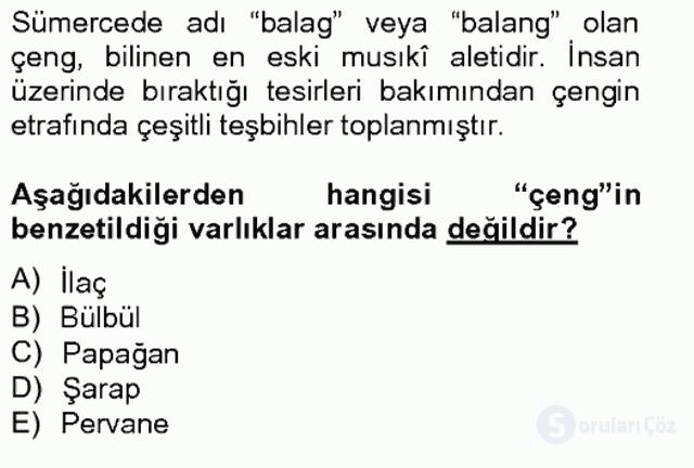 Türk Edebiyatının Mitolojik Kaynakları Bahar Final 17. Soru