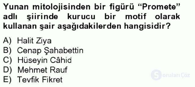 Türk Edebiyatının Mitolojik Kaynakları Bahar Final 18. Soru