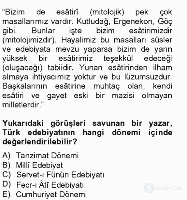 Türk Edebiyatının Mitolojik Kaynakları Bahar Final 19. Soru