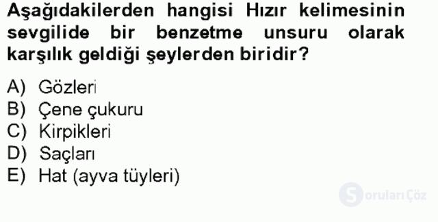 Türk Edebiyatının Mitolojik Kaynakları Bahar Final 8. Soru