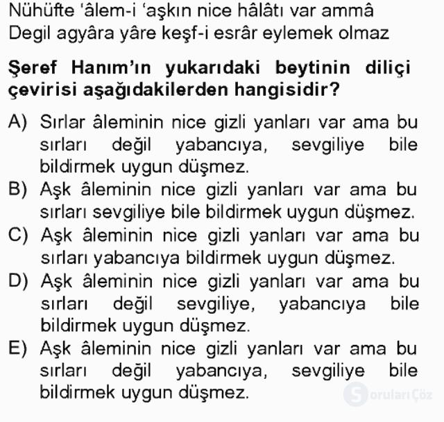 XIX. Yüzyıl Türk Edebiyatı Bahar Final 1. Soru