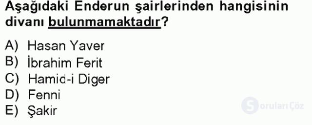 XIX. Yüzyıl Türk Edebiyatı Bahar Final 11. Soru