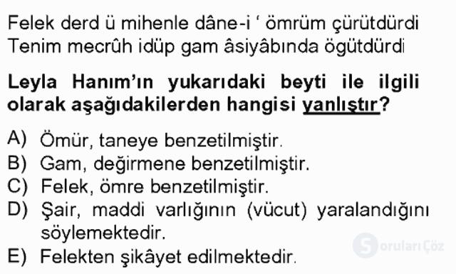 XIX. Yüzyıl Türk Edebiyatı Bahar Final 12. Soru