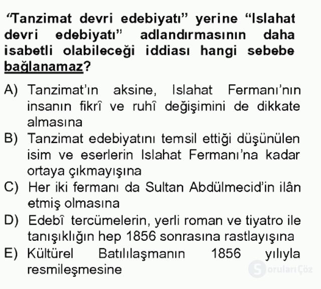 XIX. Yüzyıl Türk Edebiyatı Bahar Final 13. Soru