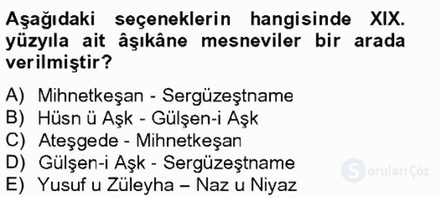 XIX. Yüzyıl Türk Edebiyatı Bahar Final 14. Soru