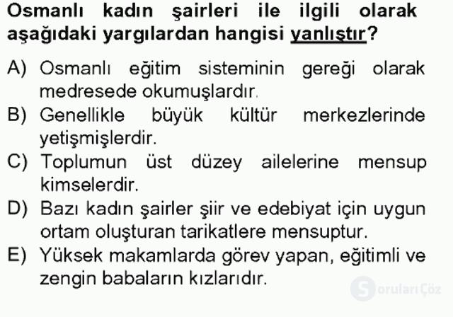 XIX. Yüzyıl Türk Edebiyatı Bahar Final 16. Soru