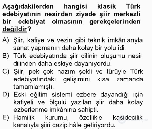 XIX. Yüzyıl Türk Edebiyatı Bahar Final 17. Soru