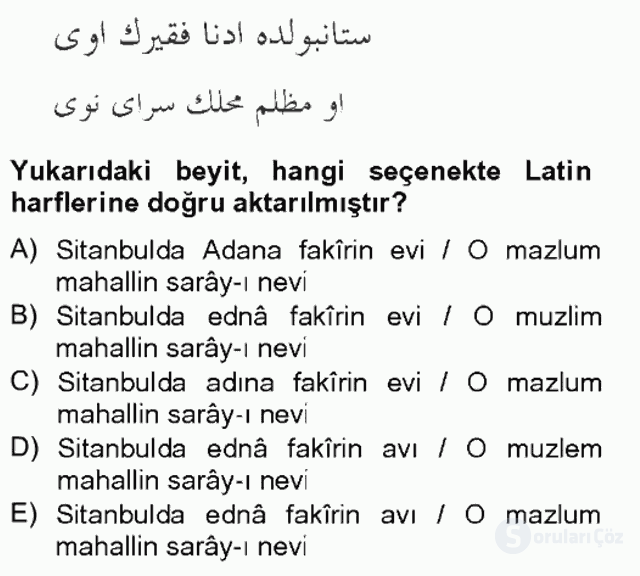 XIX. Yüzyıl Türk Edebiyatı Bahar Final 18. Soru