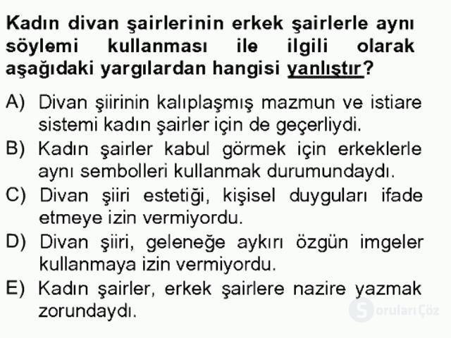 XIX. Yüzyıl Türk Edebiyatı Bahar Final 19. Soru