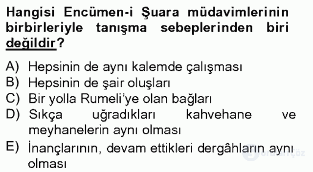 XIX. Yüzyıl Türk Edebiyatı Bahar Final 2. Soru