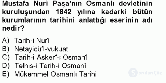 XIX. Yüzyıl Türk Edebiyatı Bahar Final 20. Soru