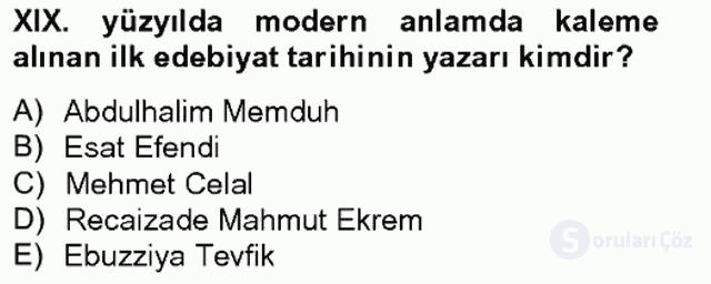 XIX. Yüzyıl Türk Edebiyatı Bahar Final 3. Soru
